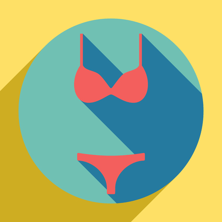 Women swimsuit sign. Sunset orange icon with shadow inside medium aquamarine circle with different goldenrod shadow at royal yellow background. Illustration. Illusztráció