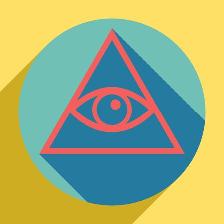 All seeing eye pyramid symbol. Freemason and spiritual. Sunset orange icon with llapis lazuli shadow inside medium aquamarine circle with different goldenrod shadow at royal yellow background. Illustr