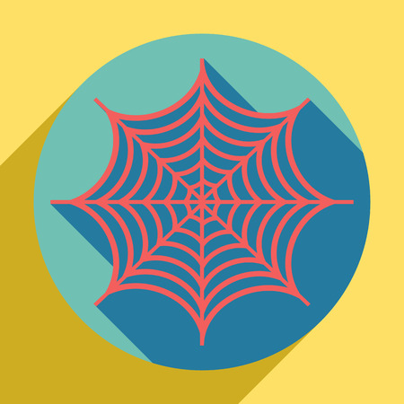 Spider on web illustration. Sunset orange icon with llapis lazuli shadow inside medium aquamarine circle with different goldenrod shadow at royal yellow background.