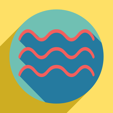Waves sign illustration. Sunset orange icon with llapis lazuli shadow inside medium aquamarine circle with different goldenrod shadow at royal yellow background. Ilustração