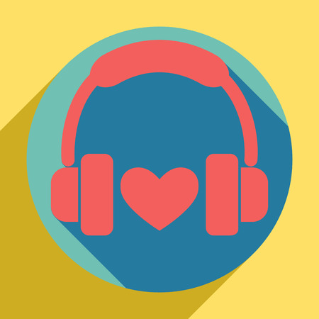 Headphones with heart. Sunset orange icon with llapis lazuli shadow inside medium aquamarine circle with different goldenrod shadow at royal yellow background. Vectores