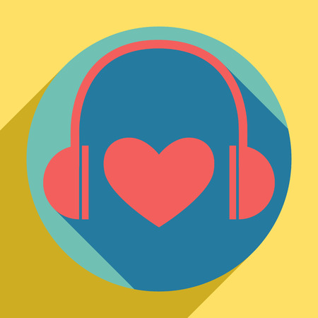Headphones with heart. Sunset orange icon with llapis lazuli shadow inside medium aquamarine circle with different goldenrod shadow at royal yellow background. Illustration