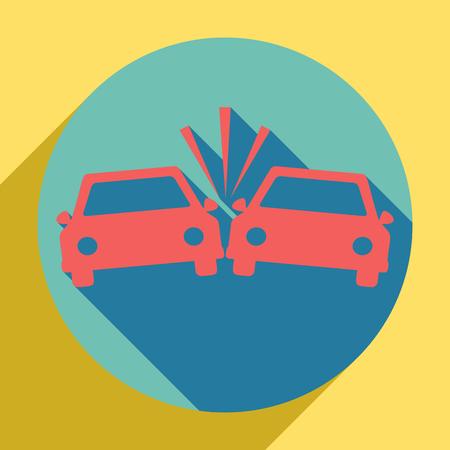 Crashed Cars sign. Sunset orange icon with llapis lazuli shadow inside medium aquamarine circle with different goldenrod shadow at royal yellow background.