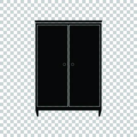 Wardrobe sign. Black icon on transparent background.