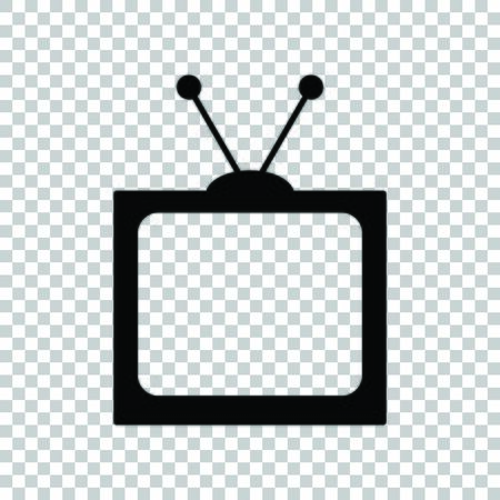 Retro television sign. Black icon on transparent background.