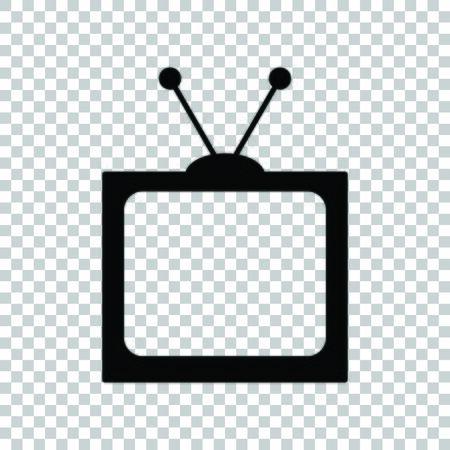 Retro television sign. Black icon on transparent background.