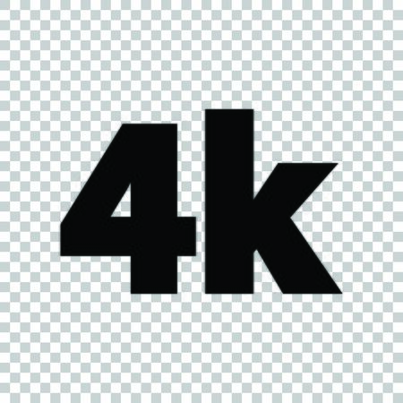 4K Ultra HD sign. Black icon on transparent background. Ilustrace