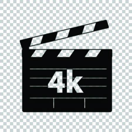 4k film sign. Black icon on transparent background.