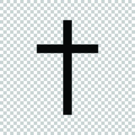 Cross sign. Black icon on transparent background. 일러스트