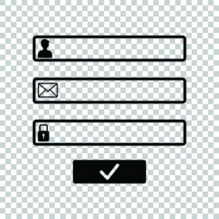 Web browser window with login page sign. Black icon on transparent background.