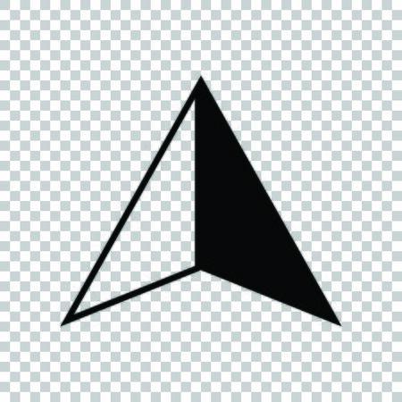 Flat cursor sign. Black icon on transparent background.