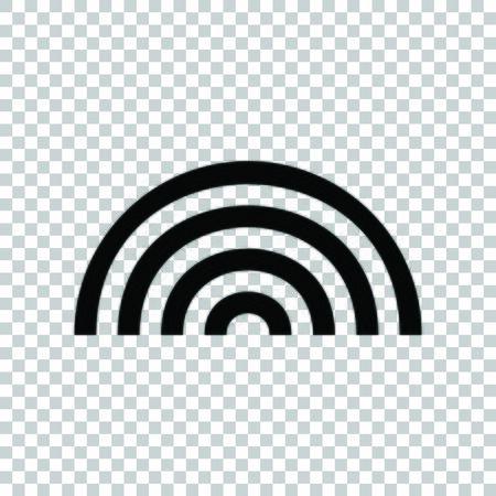 Rainbow sign. Black icon on transparent background.