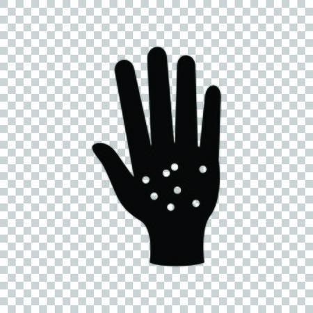 Dirty hands sign. Black icon on transparent background. Standard-Bild - 128312440