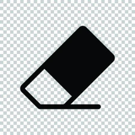 Eraser sign. Black icon on transparent background.