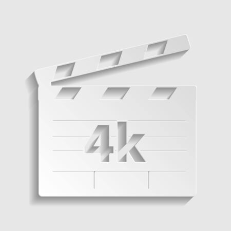 4k film sign. Paper style icon.
