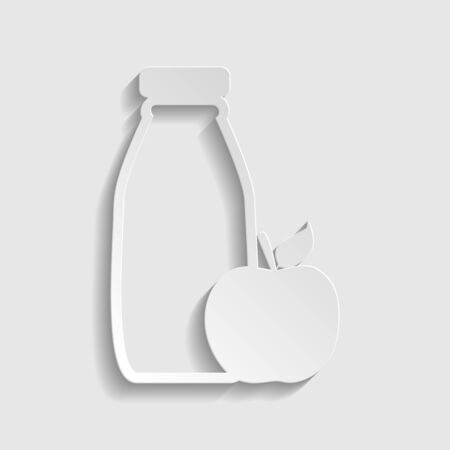 Bottle with apple. Dietology sign. Paper style icon.