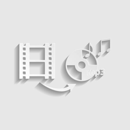 Video to audio converter sign. Paper style icon.