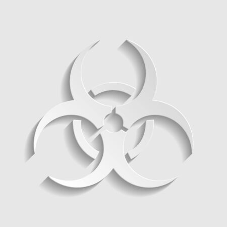 Danger chemicals sign. Paper style icon. 矢量图像