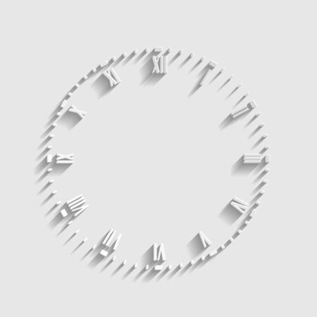 Clock face sign. Paper style icon.