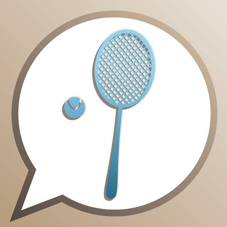 Tennis racket with ball sign. Bright cerulean icon in white speech balloon at pale taupe background. Ilustração