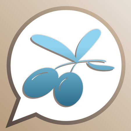 Olives sign illustration. Bright cerulean icon in white speech balloon at pale taupe background.