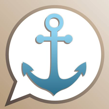 Anchor icon. Bright cerulean icon in white speech balloon at pale taupe background. Illustration