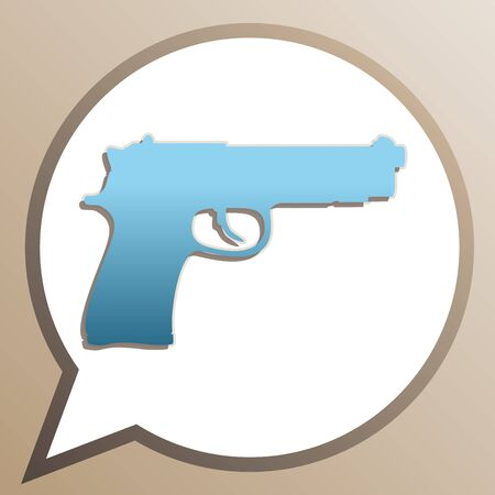 Gun sign illustration. Bright cerulean icon in white speech balloon at pale taupe background.