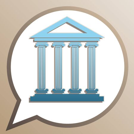 Historical building illustration. Bright cerulean icon in white speech balloon at pale taupe background.