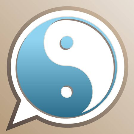 Ying yang symbol of harmony and balance. Bright cerulean icon in white speech balloon at pale taupe background.