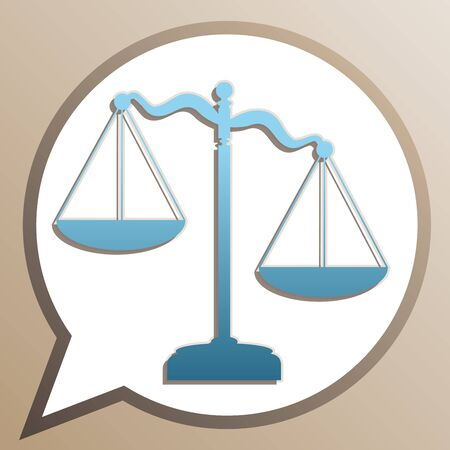 Scales of Justice sign. Bright cerulean icon in white speech balloon at pale taupe background.