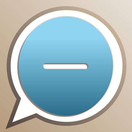 Negative symbol illustration. Minus sign. Bright cerulean icon in white speech balloon at pale taupe background.