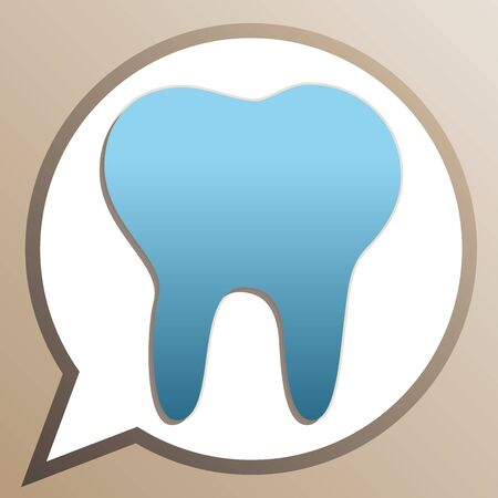 Tooth sign illustration. Bright cerulean icon in white speech balloon at pale taupe background.