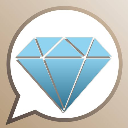 Diamond sign illustration. Bright cerulean icon in white speech balloon at pale taupe background.
