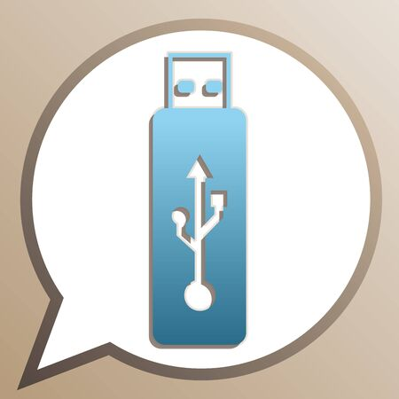 USB flash drive sign. Bright cerulean icon in white speech balloon at pale taupe background.