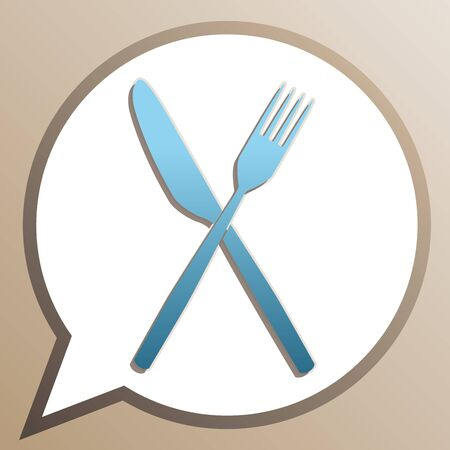 Fork and Knife sign. Bright cerulean icon in white speech balloon at pale taupe background.