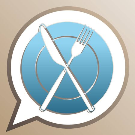 Fork, Knife and Plate sign. Bright cerulean icon in white speech balloon at pale taupe background. Иллюстрация
