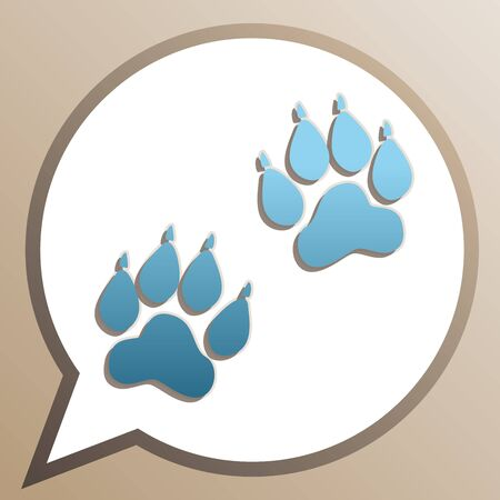 Animal Tracks sign. Bright cerulean icon in white speech balloon at pale taupe background.