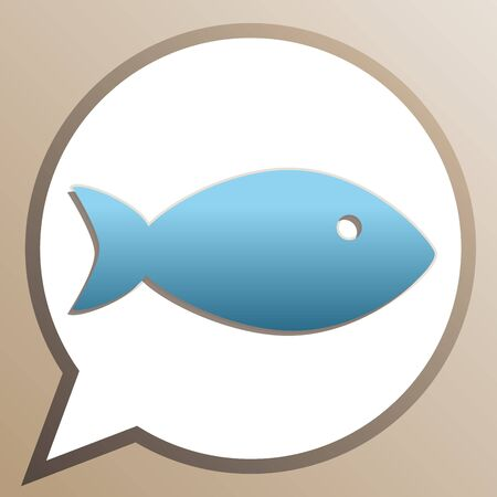 Fish sign illustration. Bright cerulean icon in white speech balloon at pale taupe background.