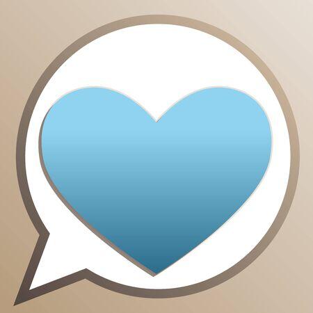 Heart sign. Bright cerulean icon in white speech balloon at pale taupe background. Illusztráció
