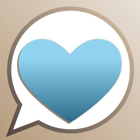 Heart sign. Bright cerulean icon in white speech balloon at pale taupe background. Illustration