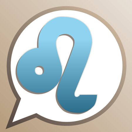 Leo sign illustration. Bright cerulean icon in white speech balloon at pale taupe background. Illustration