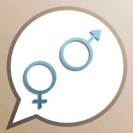 Sex symbol sign. Bright cerulean icon in white speech balloon at pale taupe background. Illustration