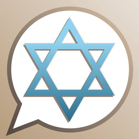 Star of David. Symbol of Israel. Bright cerulean icon in white speech balloon at pale taupe background. Illustration