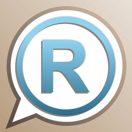 Registered Trademark sign. Bright cerulean icon in white speech balloon at pale taupe background.