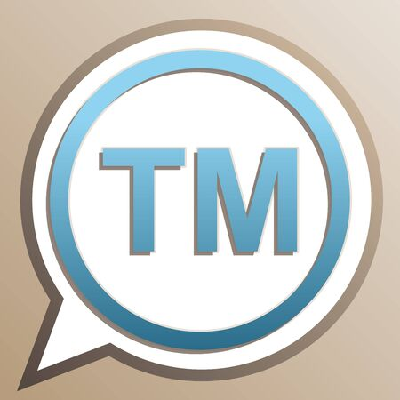 Trade mark sign. Bright cerulean icon in white speech balloon at pale taupe background. Иллюстрация