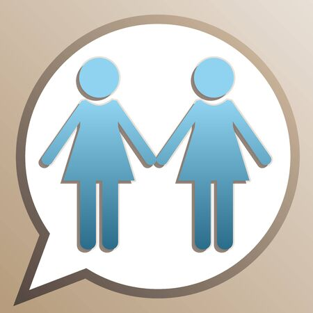 Lesbian family sign. Bright cerulean icon in white speech balloon at pale taupe background.