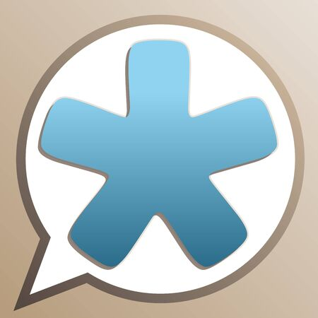 Asterisk star sign. Bright cerulean icon in white speech balloon at pale taupe background.