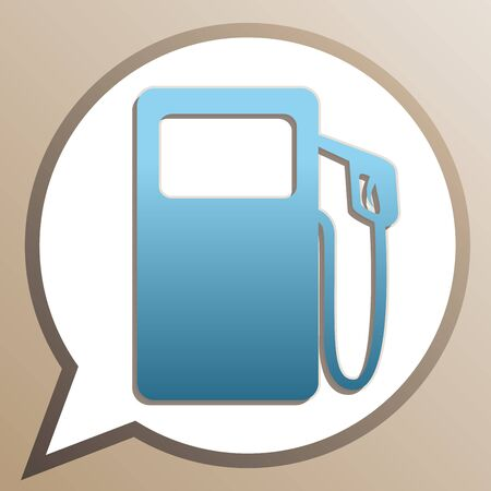Gas pump sign. Bright cerulean icon in white speech balloon at pale taupe background.