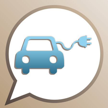Eco electric car sign. Bright cerulean icon in white speech balloon at pale taupe background.