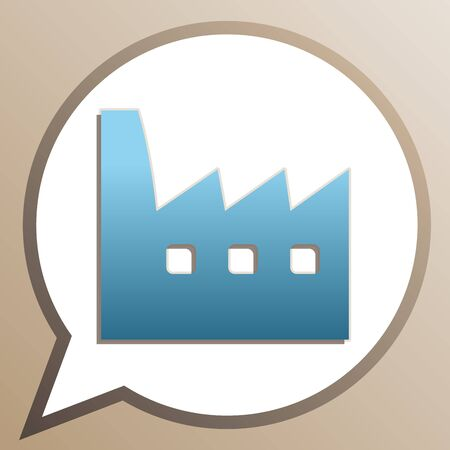 Factory sign illustration. Bright cerulean icon in white speech balloon at pale taupe background. Illustration